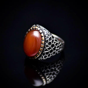 Handmade 925 Sterling Silver Ring With Red Agate Stone Right
