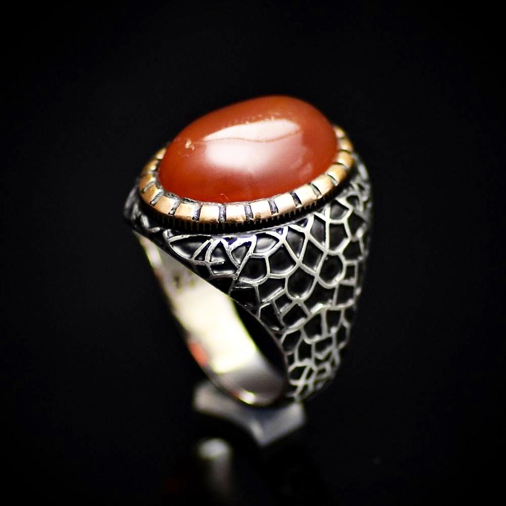 Handmade 925 Sterling Silver Ring With Red Agate Stone