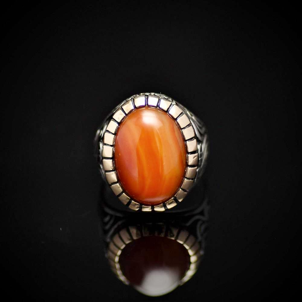 Handmade Ottoman Silver Ring With Agate Stone Front