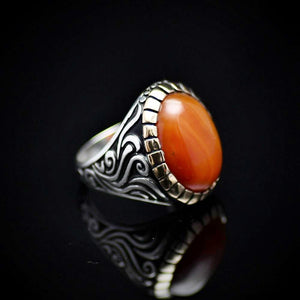 Handmade Ottoman Silver Ring With Agate Stone Left