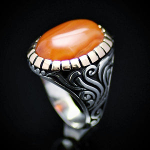 Handmade Ottoman Silver Ring With Agate Stone