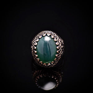 Handmade Silver Ring Embellished With Green Agate Stone Front