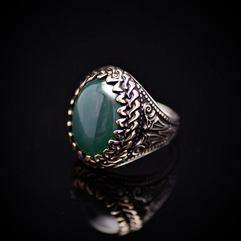 Handmade Silver Ring Embellished With Green Agate Stone Right