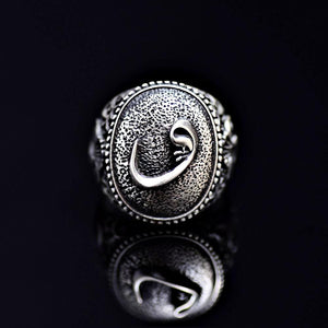 Islamic Silver Ring Adorned With Waw Letters Front