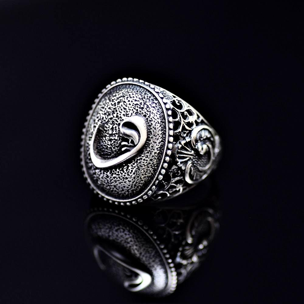 Islamic Silver Ring Adorned With Waw Letters Right