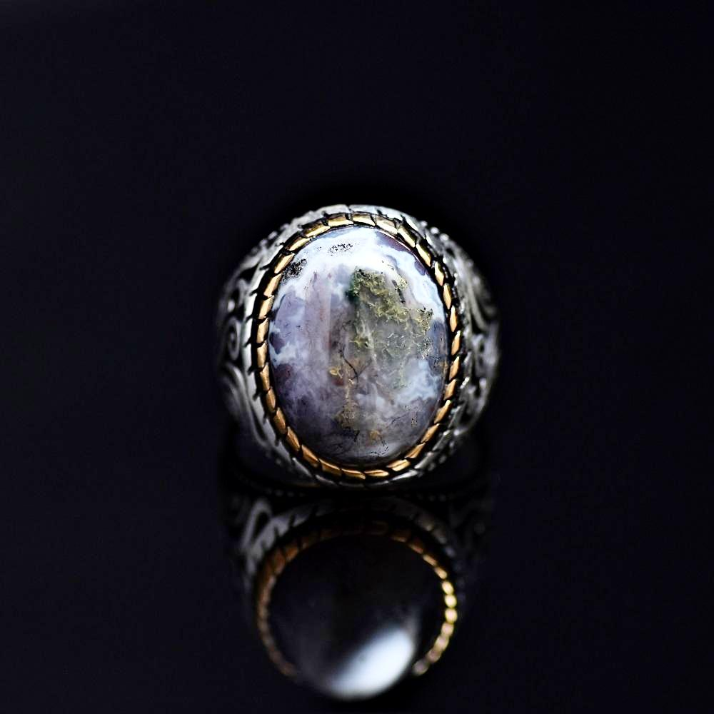 Magnificent Silver Ring Adorned With Colorful Natural Stone Front