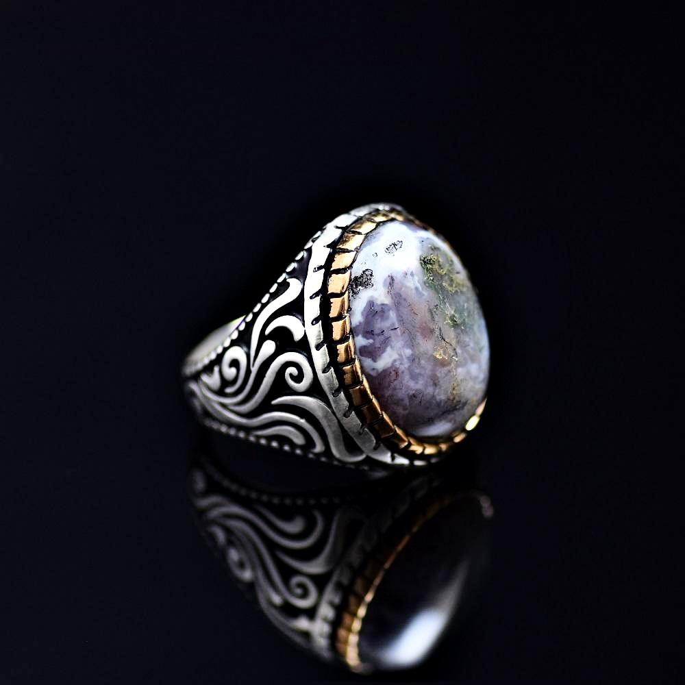 Magnificent Silver Ring Adorned With Colorful Natural Stone Left