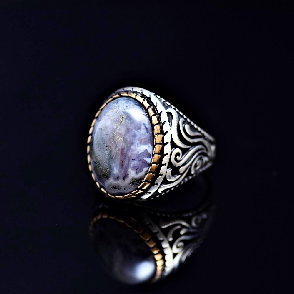 Magnificent Silver Ring Adorned With Colorful Natural Stone Right