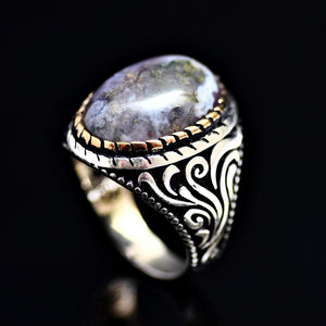 Magnificent Silver Ring Adorned With Colorful Natural Stone