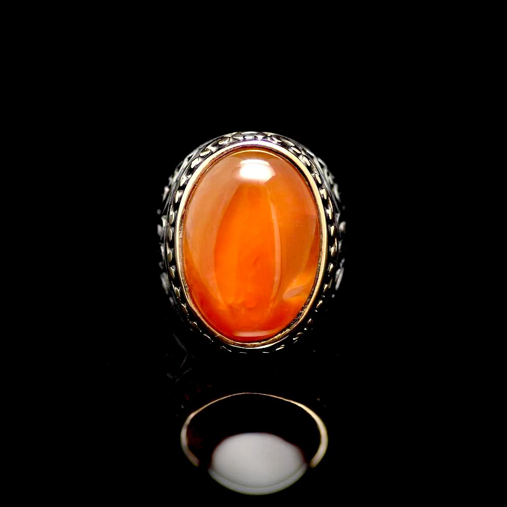 Marvellous Silver Ring Adorned With A Big Agate Stone Front