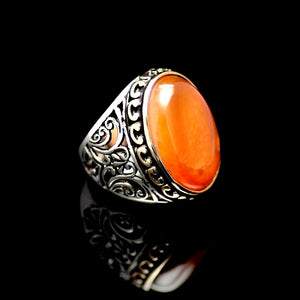 Marvellous Silver Ring Adorned With A Big Agate Stone Left