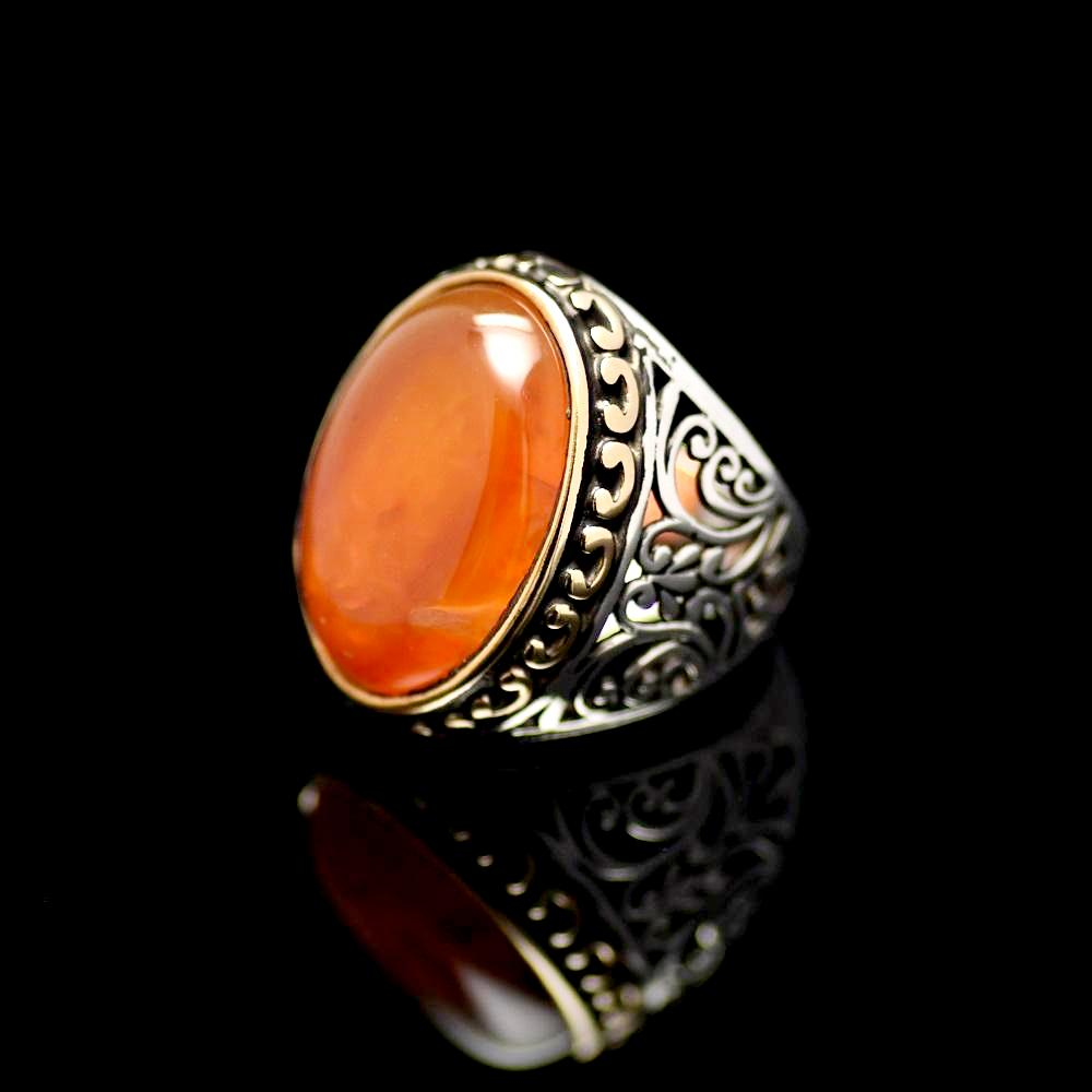 Marvellous Silver Ring Adorned With A Big Agate Stone Right