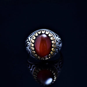 Men's Silver Ring Adorned With Red Agate Stone Front