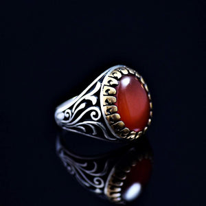 Men's Silver Ring Adorned With Red Agate Stone Left