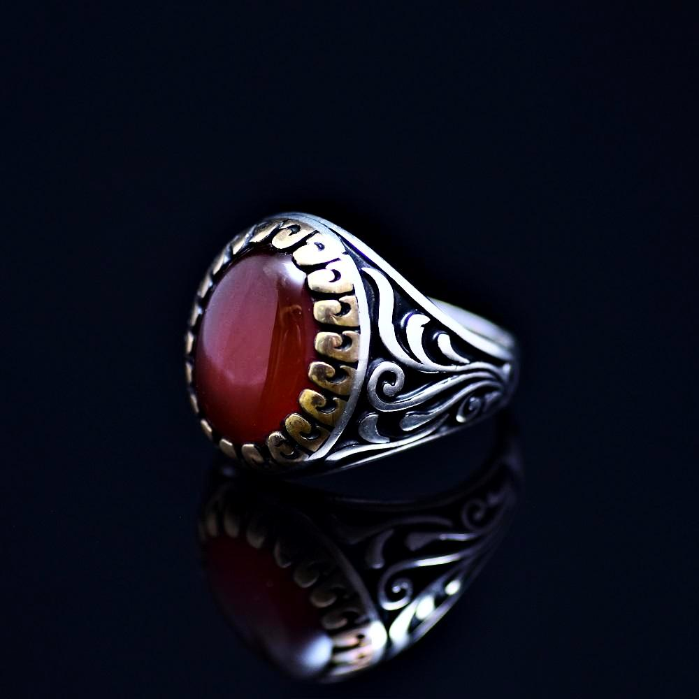 Men's Silver Ring Adorned With Red Agate Stone Right