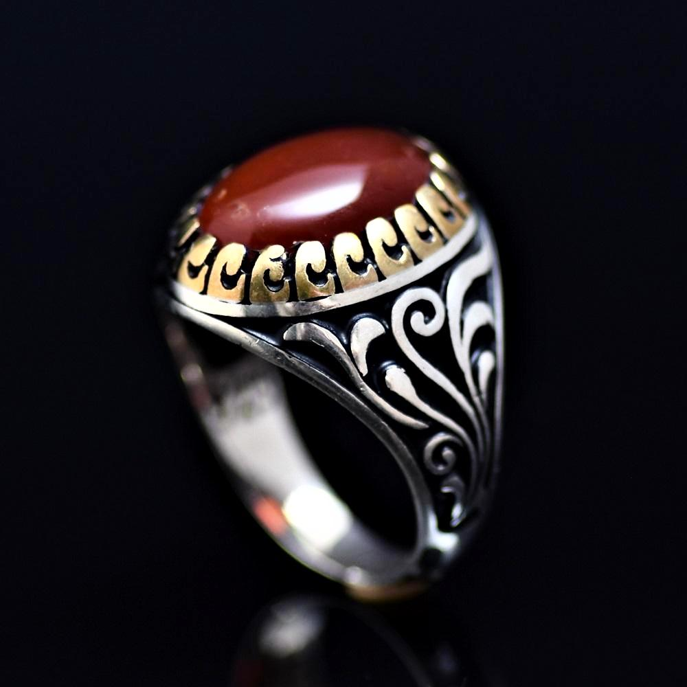 Men's Silver Ring Adorned With Red Agate Stone