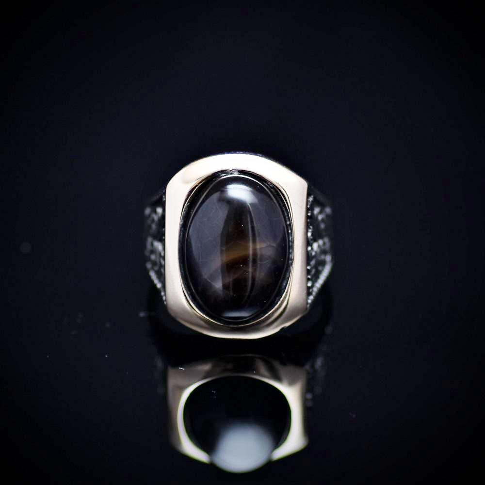 Men's Silver Ring With Ottoman Motifs And Black Agate Stone Front