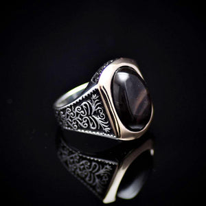 Men's Silver Ring With Ottoman Motifs And Black Agate Stone Left