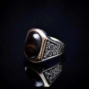 Men's Silver Ring With Ottoman Motifs And Black Agate Stone Right