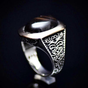 Men's Silver Ring With Ottoman Motifs And Black Agate Stone