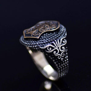 Nalain Shareef Ring Adorned With Flower Figures And Dotted Design