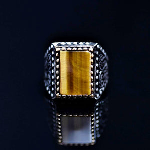 One Of A Kind Silver Ring Adorned With Tiger Eye Stone Front