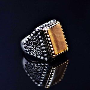 One Of A Kind Silver Ring Adorned With Tiger Eye Stone Left