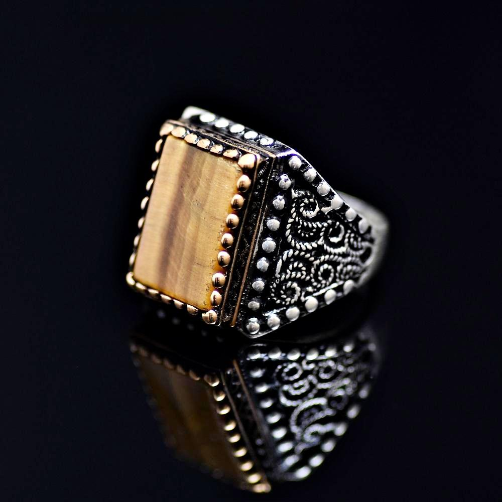 One Of A Kind Silver Ring Adorned With Tiger Eye Stone Right