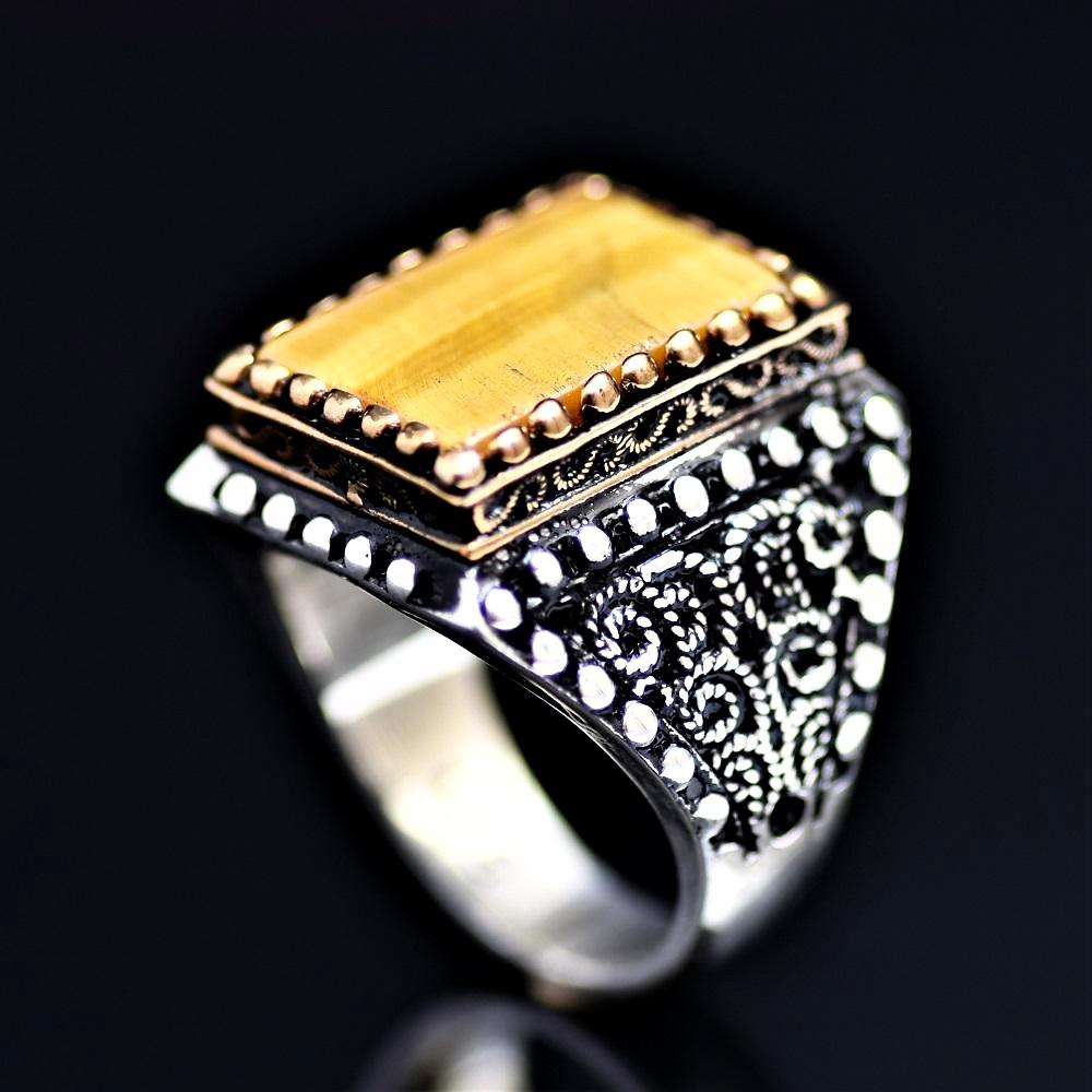 One Of A Kind Silver Ring Adorned With Tiger Eye Stone