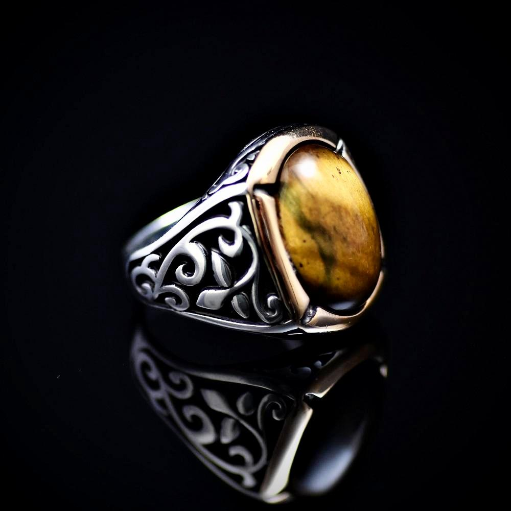 Outstanding Men's Silver Ring Embellished With Tiger Eye Stone Left