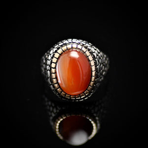Pebbling Design 925 Sterling Silver Ring With Agate Stone Front