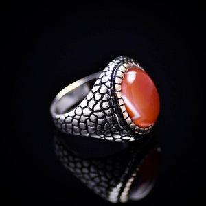 Pebbling Design 925 Sterling Silver Ring With Agate Stone Left