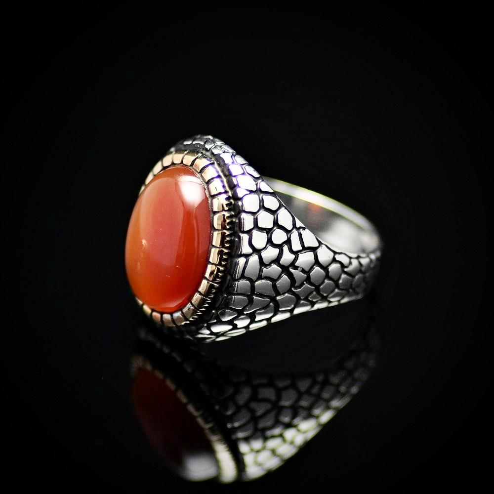 Pebbling Design 925 Sterling Silver Ring With Agate Stone Right