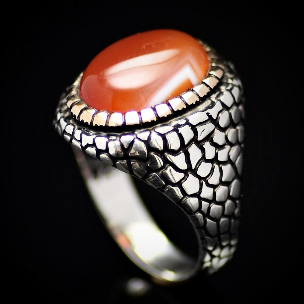 Pebbling Design 925 Sterling Silver Ring With Agate Stone