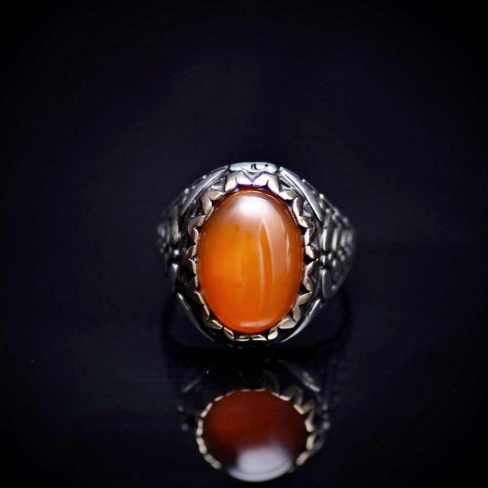 Perfect Gift Silver Ring With Carnelian Stone And Engraved Details Front