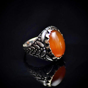 Perfect Gift Silver Ring With Carnelian Stone And Engraved Details Left