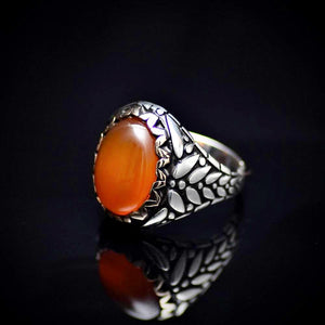 Perfect Gift Silver Ring With Carnelian Stone And Engraved Details Right
