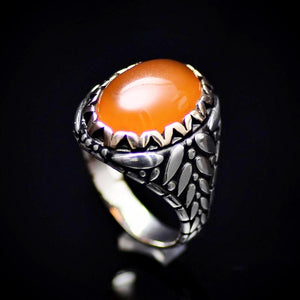 Perfect Gift Silver Ring With Carnelian Stone And Engraved Details
