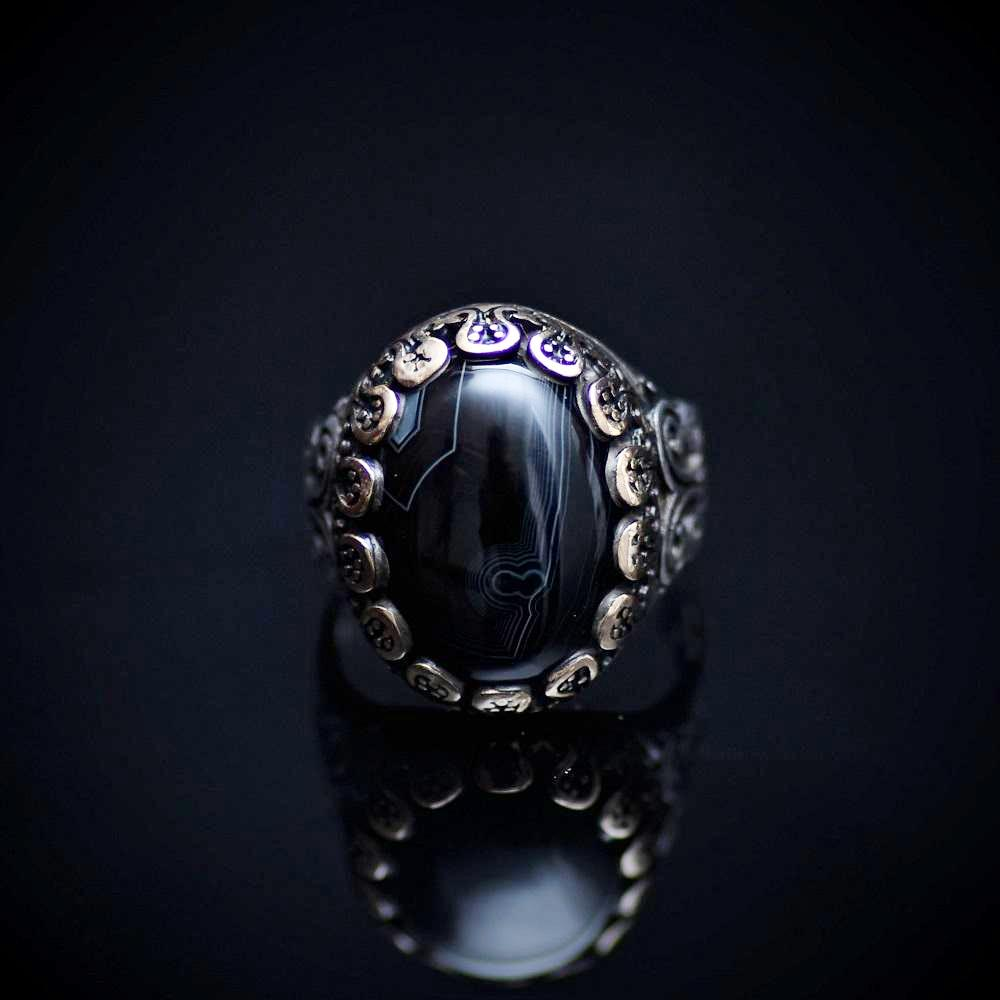 Perfect Silver Ring With Striped Agate Stone And Engraved Details Front