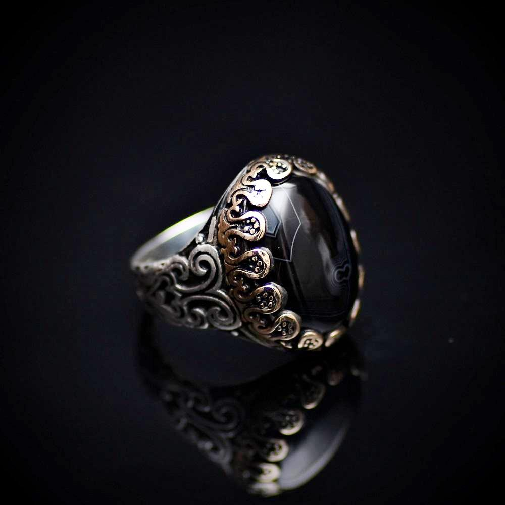 Perfect Silver Ring With Striped Agate Stone And Engraved Details Left