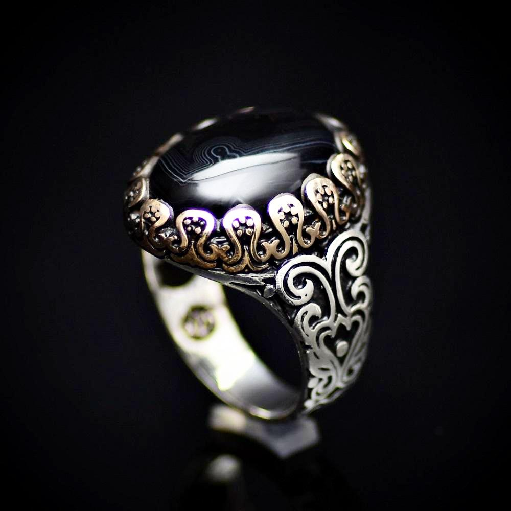 Perfect Silver Ring With Striped Agate Stone And Engraved Details