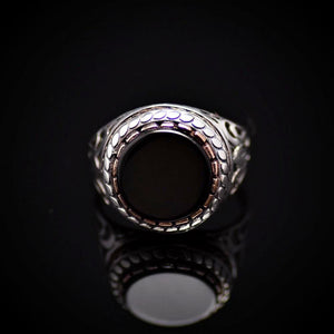 Plain And Beautiful Men's Silver Ring With Black Onyx Stone Front