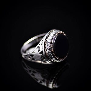 Plain And Beautiful Men's Silver Ring With Black Onyx Stone Left