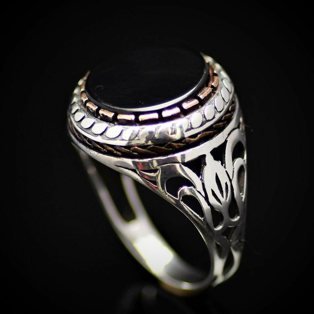 Plain And Beautiful Men's Silver Ring With Black Onyx Stone