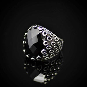Raindrops Design Men's Jewelry With Facet Black Onyx Stone Right