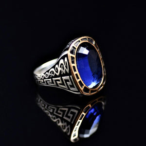 Remarkable Silver Ring Adorned With Blue Zircon Stone Left