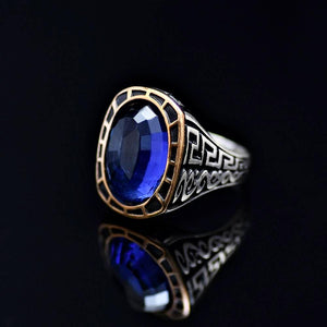Remarkable Silver Ring Adorned With Blue Zircon Stone Right