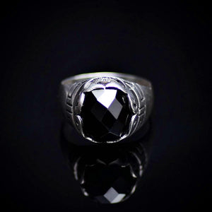 Shining Rhodium Plated Silver Ring Encrusted With Onyx Stone Front