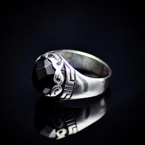 Shining Rhodium Plated Silver Ring Encrusted With Onyx Stone Right
