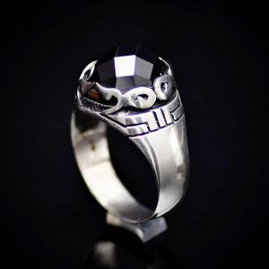 Shining Rhodium Plated Silver Ring Encrusted With Onyx Stone